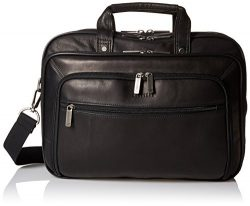 Heritage Travelware Colombian Leather Dual Compartment Top Zip 15.6″ Laptop Portfolio, Black