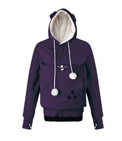 Unisex Big Kangaroo Pouch Hoodie Long Sleeve Pet Dog Holder Carrier Sweatshirt (Large, Purple-Fl ...