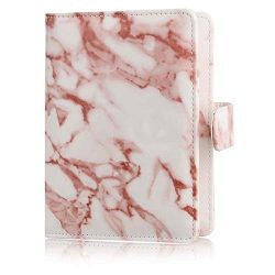 UUcovers Passport Holder Travel Wallet, Protective PU Leather RFID Blocking Case Cover-Brown Marble
