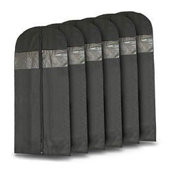 Plixio 60″ Black Garment Bags for Breathable Storage of Dresses & Dance Costumes, Suit ...