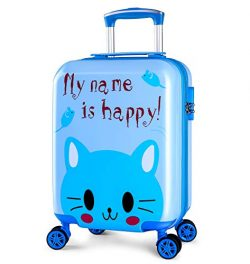 Lttxin Kids' suitcase 18 inch Polycarbonate Carry On Luggage Lovely Hard Shell(upgrade-hap ...