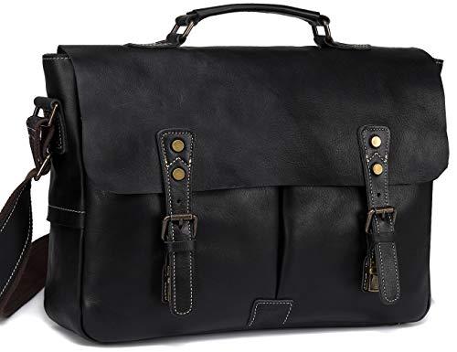 Leather Messenger Bag for Men, VASCHY Handmade Full Cowhide Leather Vintage Satchel 15.6 inch La ...