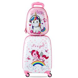 Goplus 2Pc 12″ 16″ Kids Carry On Luggage Set Upright Hard Side Hard Shell Suitcase T ...