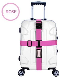 Zaptex Nylon Luggage Strap with Lock Travel Suitcase Belts (Rose)