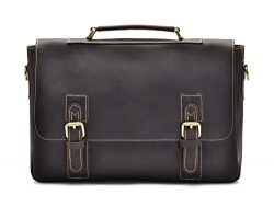 "Hølssen Men's Leather Satchel Briefcase (Genuine) Vintage Crossbody 15"" Laptop Bag"