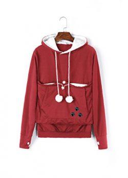 Unisex Big Kangaroo Pouch Hoodie Long Sleeve Pet Dog Holder Carrier Sweatshirt,Red,XXX-Large