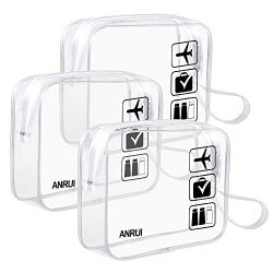3 Pack ANRUI TSA-Approved Clear Travel Toiletry Bag With Handle Strap, TSA Quart Sized with Zipp ...