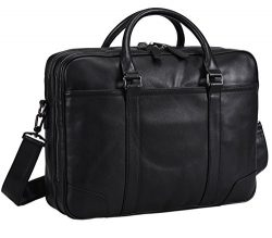 "Polare Soft Real Leather Double Zipper Laptop Computer 16"" Briefcase Business Bag"