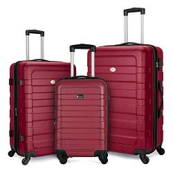 FOCHIER 3 Piece Luggage Sets Hardshell Expandable Suitcase with TSA Lock