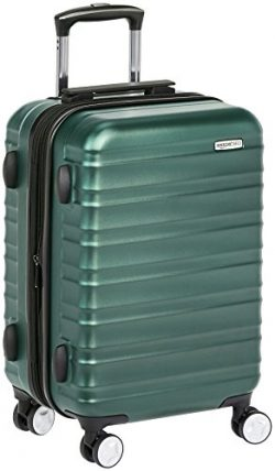AmazonBasics Premium Hardside Spinner Luggage with Built-In TSA Lock – 20-Inch Carry-on, Green