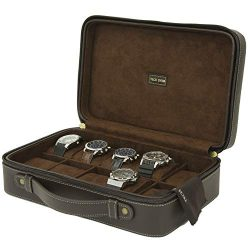 Watch Case For 10 Travel Briefcase Design Leather Large Compartments Zipper (Brown)
