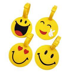 Mziart Cute Emoji Luggage Tags Set of 4, Personalized Smiling Face TSA Travel Bag ID Suitcase La ...