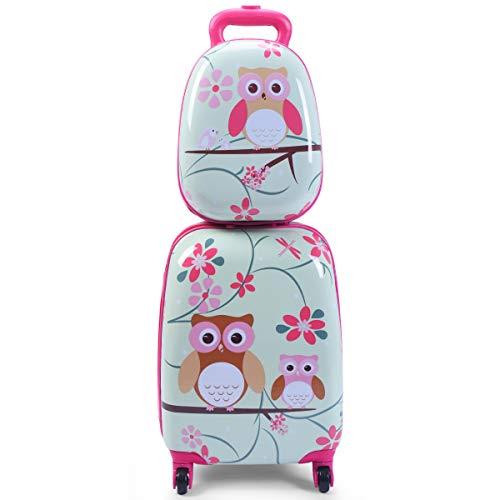 Goplus 2Pc 12″ 16″ Kids Carry On Luggage Set Upright Hard Side Hard Shell Suitcase S ...