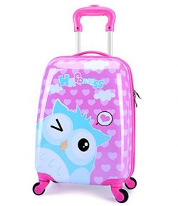 LeLeTian Kids Luggage Cute Animal Owl Hardshell Lightweight Adjustable Handle Rolling Carry On S ...