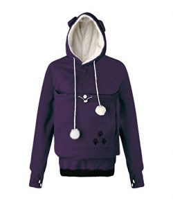 Unisex Big Kangaroo Pouch Hoodie Long Sleeve Pet Dog Holder Carrier Sweatshirt (X-Large, Purple- ...