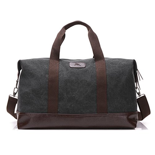 Classic Weekender Overnight Duffel Bag Canvas Leather Carry on Travel Tote (Black)