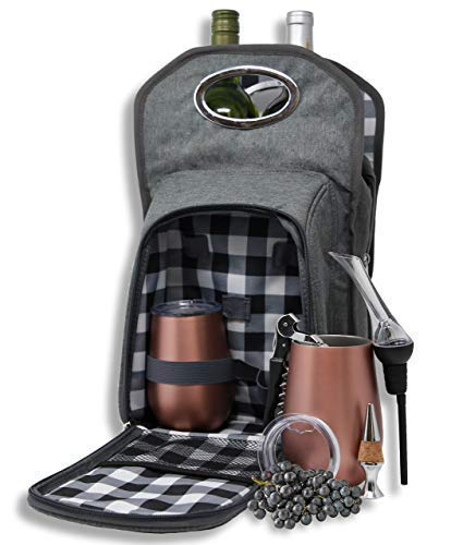 Wine Tote Picnic 6 pc. Travel Set: Wine Bag | Rose Gold Vacuum Insulated Stemless Tumblers & ...