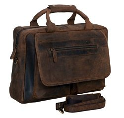 KomalC 16 Inch Retro Buffalo Hunter Vintage Leather Laptop Messenger Bag Office Briefcase Colleg ...