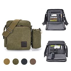 GuiShi Canvas Small Messenger Bag Casual Shoulder Bag Travel Organizer Bag Multi-pocket Purse Ha ...