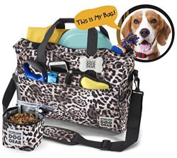 Dog Travel Bag – Day Away Tote For All Size Dogs – Includes Bag, Lined Food Carrier, ...