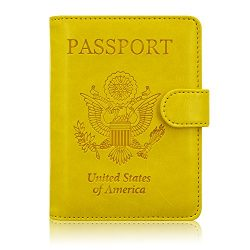 ACdream Passport Holder Wallet, Travel Leather RFID Blocking Cover for Passport, (Yellow)