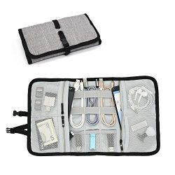 Patu Roll Up Folding Travel Organizer Case for Cables, Memory Cards, Flash Disks, Earphones, Por ...