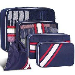 Packing Cubes, Packing Organizers, YAMTION 5-Piece Oxford Lightweight Travel Luggage Organizers  ...