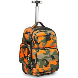 HollyHOME 20 inches Big Storage Waterproof Wheeled Rolling Backpack Travel Luggage for Boys Stud ...
