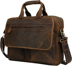 Iswee Mens Leather Messenger Bag 14″ or 16″ or 17″ Laptop Bags Attache Case Vi ...