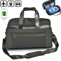 Business Travel Duffel Bag Briefcase with USB Charging Port Flight Bag 22L