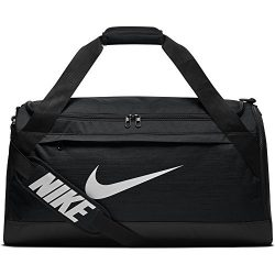 NIKE Brasilia Duffel Bag, Black/Black/White, Medium