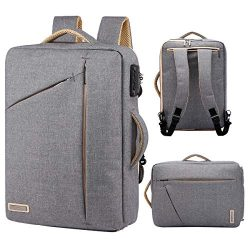 17 inch Laptop Backpack, Canvas Business Travel Briefcase College School Anti Theft Bookbag for  ...