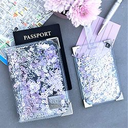 Clear & Purple Rose Glitter Passport Holder and Luggage Tag Set for Women, Handmade Cute Tra ...