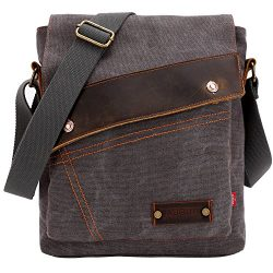 Aibag Messenger Bag, Vintage Small Canvas Shoulder Crossbody Purse (Grey)