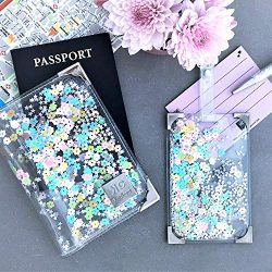 Clear & Rainbow Glitter Passport Holder and Luggage Tag Set for Women, Handmade Colorful Cut ...