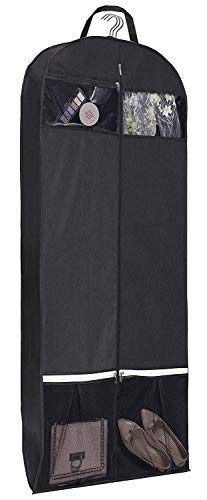 KIMBORA 54″ Trifold Dress Garment Bags for Travel Gusseted Suit Cover with 2 Large Mesh Sh ...