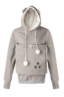 Unisex Big Kangaroo Pouch Loose Fleece Hoodie Long Sleeve Pullover Little Pet Cat Dog Holder Car ...