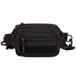 HYOUSANN Utility Waist Pack 4-Way Pouch Bag Molle Handbag Money Belt black