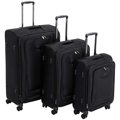 AmazonBasics Premium Expandable Softside Spinner Luggage With TSA Lock 3-Piece Set – 21/25 ...