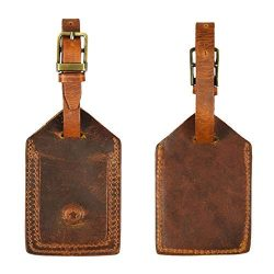 Genuine Leather Luggage Tags Travel ID Bag Baggage Suitcase Labels By Aaron Leather (Fire Brown)
