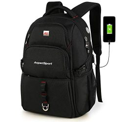 ASPENSPORT Laptop Backpack with USB Charging Port Fit 17 Inch Computer Backpack Water Resistant  ...