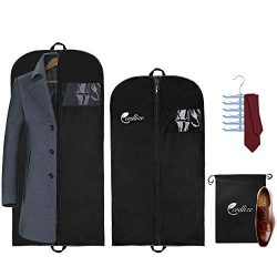 cedlize Garment Bags For Travel and Storage – Pack of 4 with Shoe-Bag and Tie Hanger, 43-5 ...