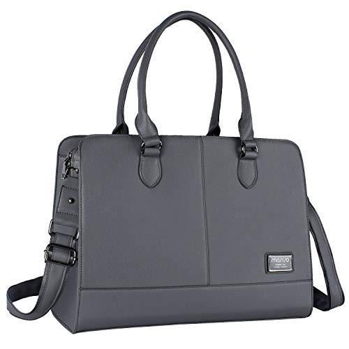 MOSISO Laptop Tote Bag for Women (Up to 15.6 Inch), Premium PU Leather Large Capacity with 3 Lay ...