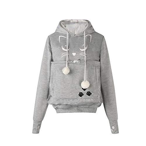 Unisex Big Kangaroo Pouch Hoodie Long Sleeve Pet Dog Holder Carrier Sweatshirt (Light Grey-cat P ...