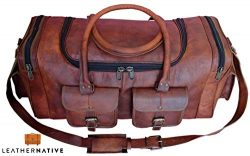 Leather Native New Large Men's Leather Vintage 22″ Duffle Luggage Weekend Gym Overni ...
