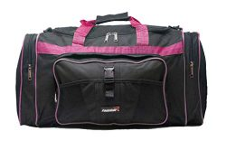 foolsGold 50L Luggage Gym Holdall Duffle Bag – Large (Black/Pink)