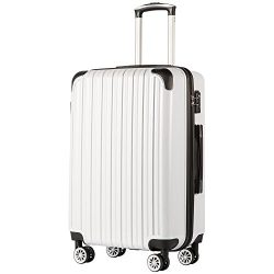 COOLIFE Luggage Expandable(only 28″) Suitcase PC+ABS Spinner 20in 24in 28in Carry on (Whit ...
