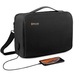 15.6 inch Laptop Bag, USB Travel Briefcase with Organizer, 180° Main Panel Opens Shoulder Bag, W ...
