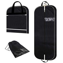 54″ Garment bag with extra large pockets for travel, 3.9″ gusseted foldable mens wom ...