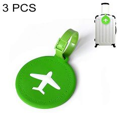 Morden Round PVC Luggage Tag Travel Bag Identification Tag 3 PCS Gift (Color : Green)